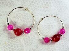 "CYNTHIA LYNN ""EXTREMELY PINK"" TOURMALINE AGATE SILVER HOOP EARRINGS"