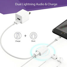 Charge Cable For iPhone X 7 8 Plus Adapter 2 in 1 Lightning to Dual Headphone