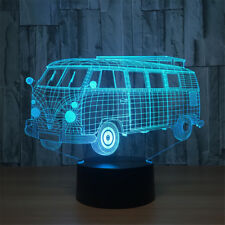 Bus 3D Night Light 7 Color Change LED Table Desk Decor Sleeping Lamp for Kid
