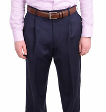 Jos A Bank Classic Fit Solid Navy Blue Double Pleated Wool Dress Pants