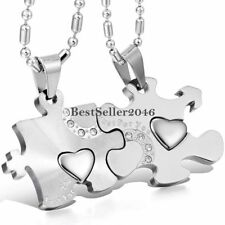 2pcs His & Hers Stainless Steel Love Heart Puzzle Pendant Couple Necklaces Gift