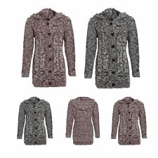 Ladies Cable Knitted Hooded Button Long Marl Womens Chunky Jumper Cardigan Top