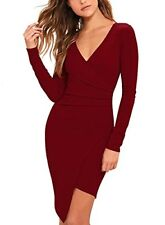 Women Bodycon Dress Party Casual V Neck Ruched Wrap Pencil Cocktail Dresses