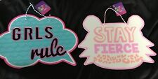 GRLS Girls Rule & Stay Fierce room decor plaque signs - lot of 2 - you choose