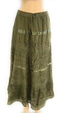 Cotton Women's Boho Lace Trim Embroidered Tiered Peasant Sweep Skirt NWT 1X-3X