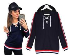 Women's Casual V Neck Lace Up Contrast Striped Seam Pullover Hoodies Sweats Tops