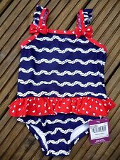 Baby Girls Navy White Swimming Costume Swimsuit Integrated Swim Nappy 3-6 months