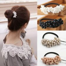2PCS Scrunchie Ponytail Holder Women Faux Pearl Beads Elastic Hair Band Rope Hot