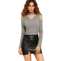 Womens Sexy Clothes Long Sleeve Off Shoulder T-Shirt Casual Grey Shirt HOT 2018