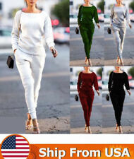 2Pcs Women Hoodies Sweatshirt Pants Sets Casual Tracksuit Jogging Gym Sport Suit