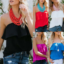 Women Sexy Solid Strapless Off Shoulder Layered Slach Neck Blouse T-Shirt Tops