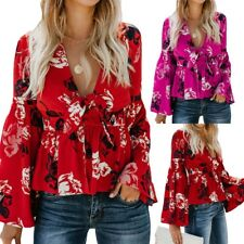 Sexy Women's Print V Neck Long Flare Sleeves Tie Belted Waist Bow Tops Blouses