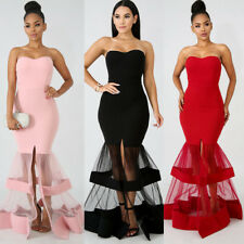 Women Strapless Women Sexy Bodycon Mesh Ball Gown Evening Tube Tunic Wrap Dress