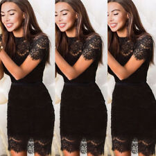 Talever Women Bodycon Mesh Lace Sexy Tunic Wrap Dress Package Hip CasualCocktail