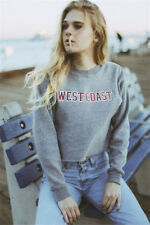 Women's Crewneck Long Sleeve Letter Print Cropped Sweatshirt Pullover Jumper