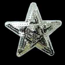 Silver Star Sequin Iron Sew on Patch Applique Badge Embroidered Biker Motor Cute