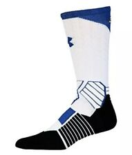 UNDER ARMOUR UA SC30 Drive Curry White Royal Blue Basketball Crew Socks Mens L
