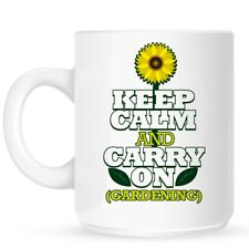 Mug Keep Calm and Carry On Gardening White