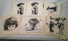 LOT OF 6 UNUSED LARGE 1970 FRAN MAR MOPPETS GREETING CARDS POSTCARDS