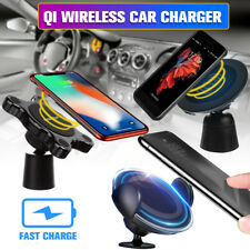 3in1 Qi Fast Wireless Charger Car Magnetic Mount Holder Cell Phone Charging Dock
