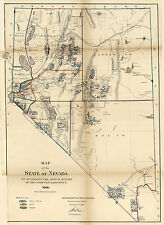 1866 Nevada Public Lands Gold Rush Map Mining District Fields Mines Wall Poster