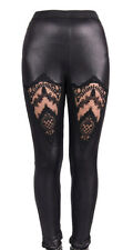 Leggings black dentelle and embroidery in the front , gothic eleg Devil Fashio