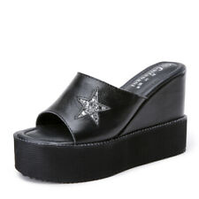 Womens Leather Open Toe Slipper Shoes High Wedge Platform Creepers Slide Sandals