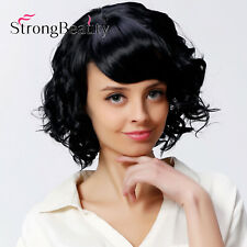 Women Short Wavy Curly Bangs Hair Wig Synthetic Full Wigs Natural Looking Wigs