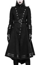 Long coat black bands leather vegan button, gothic mil Punk Rave