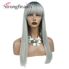 Long Straight Ombre Grey Black Roots Wig with Bangs for Women Synthetic Hair Wig