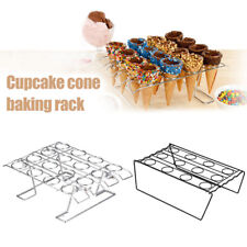Cupcake Cone Baking Rack 12/16 Ice Cream Cone Holder Stand Cake Pastry Tray CA