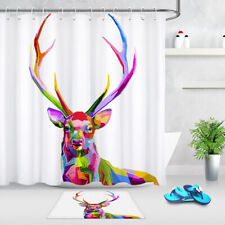 Colorful Abstract Deer Shower Curtain Set Bathroom Fabric Bath Curtains 72x72""