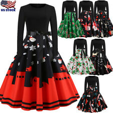 Women's Christmas Evening Party Swing Vintage 1950s Long Sleeve Xmas Dress New