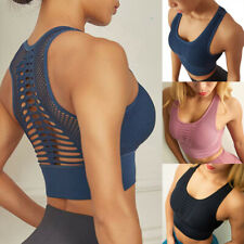 Womens Yoga Sports Bra Fitness Seamless Workout Stretch Tops Padded Racerback