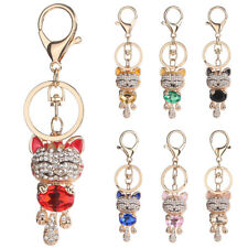 Lucky Smile Cat Crystal Rhinestone Keyrings Purse Bag Car Keychains R1BO