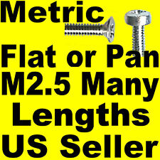 Metric Pan or Flat Head Screws M2.5 x 3, 4, 5, 6, 8 etc