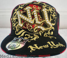 NEW BLING RED & BLACK CHECKED PLADDED FITTED NY HAT CAP
