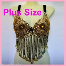 *PLUS SIZE*Belly Dance Bra Top Coins Dancing Costume R4