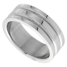 8mm Stainless Steel 2 Grooves Wedding Band Ring, High Polish Finish