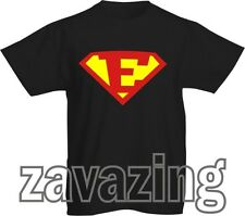 SUPERMAN LOGO INITIAL 'E' T-SHIRT HERO FANCY DRESS GIFT