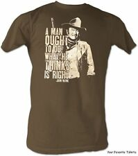 Licensed John Wayne Cowboy A man Ought To Do What He Thinks Is Right Adult Shirt