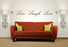 Live Laugh Love Quote, Vinyl Wall Art Sticker, Mural, Decal, Hearts. Home Decor