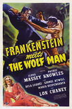 "Classic Movie - Frankenstein Meets The Wolf Man- 24""x36"" Giclee Print on Canvas"