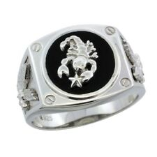 Sterling Silver Black Onyx Scorpion Ring w/ Screw Accents & American Eagle Sides
