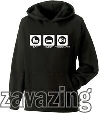EAT SLEEP PHOTOGRAPHY UNISEX HOODIE HOODY CAMERA PHOTO SHOP PHOTO EDITING ARTIST