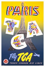 "Vintage Travel Art - Paris- Fly Trans Canada Airlines -  24""x36"" Art on Canvas"