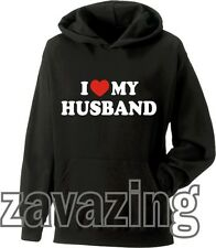 I LOVE MY HUSBAND HOODIE HOODY VALENTINES DAY WEDDING ANNIVERSARY GIFT FUNNY