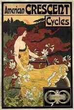 "Vintage Advertising- American Crescent Cycles c.1899 - 24""x36"" Art on Canvas"