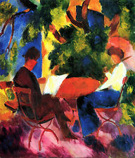 "August Macke -Couple at the garden table -20""x26"" Art on Canvas"