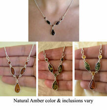 BALTIC HONEY, GREEN or MULTICOLOR AMBER & STERLING SILVER NECKLACE CHOKER